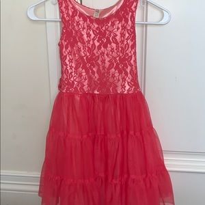 pink lace front short sleeve dress